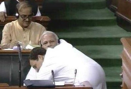 Rahul Gandhi Hugged Pm Modi at The Parliament